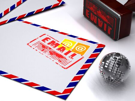 the postmark: envelopes with stamps and postmark. Rubber stamp  and world globe over white background. Email concept