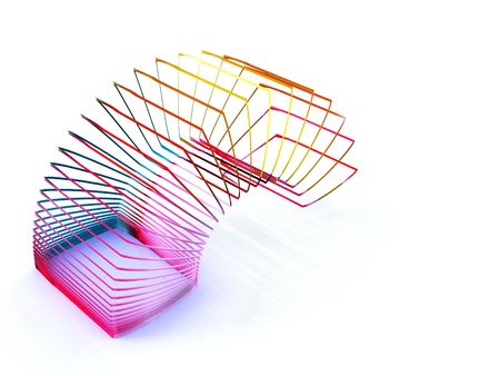 square slinky spring toy isolated on a white background photo