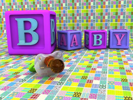 A stack of childrens alphabet blocks spelling the word baby and pacifier photo