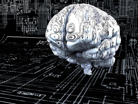 Artificial Intelligence concept. Brain over the mainboard or electronic circuits photo