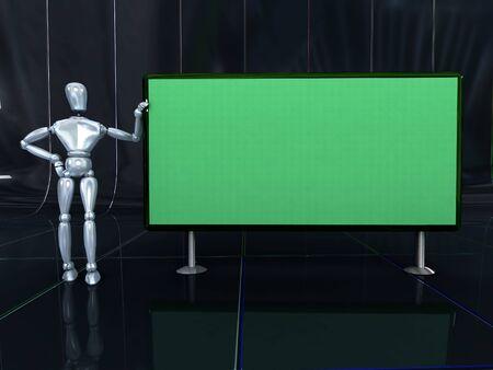 blacks: Metallic mannequin next to a green board ,  over blacks tiles.