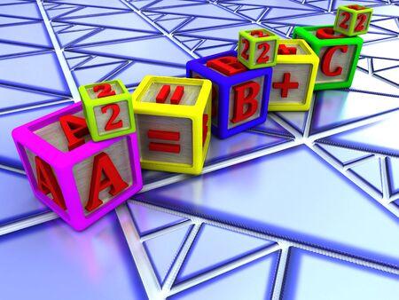 teorema: Teorema de Pit�goras en tri�ngulo en forma de azulejos  Foto de archivo