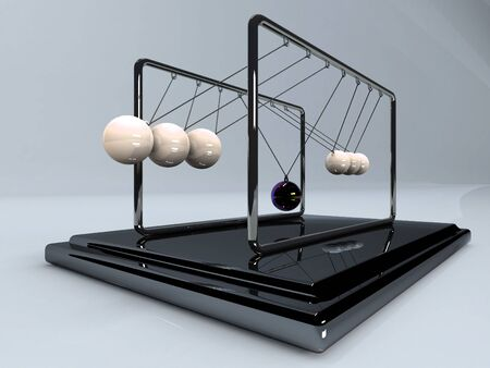 swaying: Silver 3d pendulum. Balancing balls Newtons cradle in action over blue