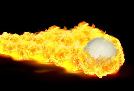 White Volley ball in flames on black background photo