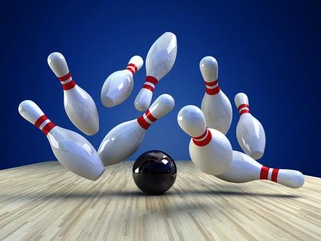 boliche: Jogo Bowling. Uma bola de boliche está batendo os pinos para baixo sobre o fundo azul, uma imagem 3d Imagens