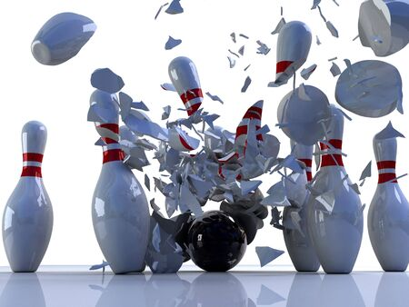 strike: Bowling pins destroyed by ball. 3D render of a bowling ball shattering bowling pins