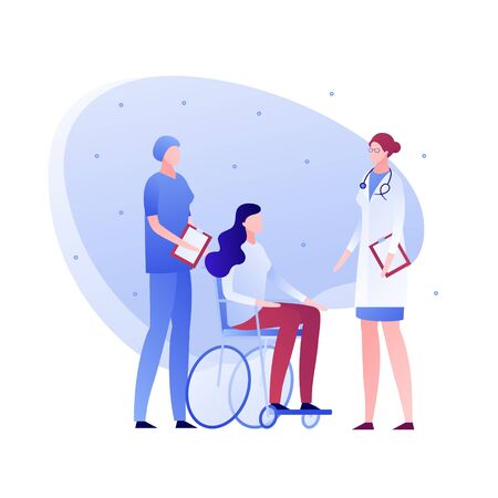 Vector flat doctor and patient person illustration. Medical team and disabled female sitting in wheelchair. Concept of diagnosis, meeting, checkup. Design element for poster, flyer, card, banner Stock Illustratie