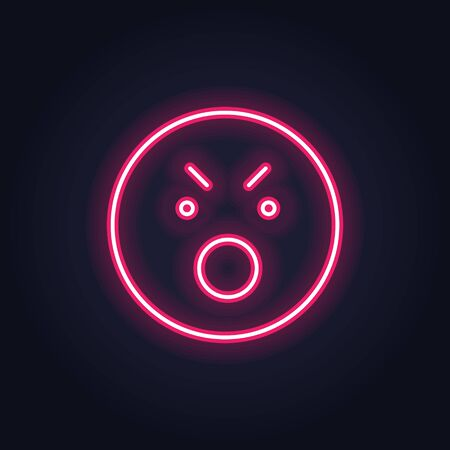 Vector neon icon for mood feedback. Red anger glowing light emotion smile isolated on black. Emoticon element of UI design for client rating, feedback, survey, social media