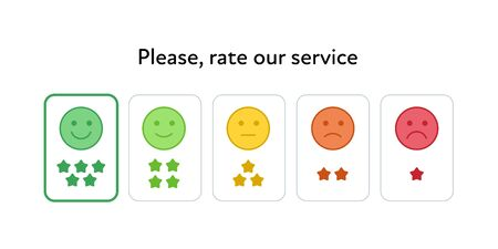 Vector feedback survey flat icon set. Five color smile star sign buttons isolated on white background. Design element for marketing research, client testimonail, questionnaire response, web Ilustrace
