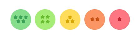 Vector feedback survey flat icon set. Five color star symbol in circle frame button isolated on white background. Design element for marketing research, client testimonail, questionnaire response, web