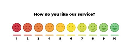 Vector feedback survey template. Ten scale of color emotion smiles from angry to happy with numbers isolated on white background. Emoticons element of UI design for client service rating.