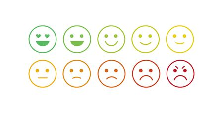 Vector icon set for mood tracker. Ten scale of silhouette emotion smiles from angry to happy isolated on white background. Emoticon element of UI design for client service rating, feedback survey Illustration