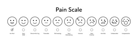 Vector flat horizontal pain measurement scale. Black silhouette icon set of emotions from happy to red sceaming with check box Ten gradation form no pain to unspeakable. Medical pain test. Иллюстрация