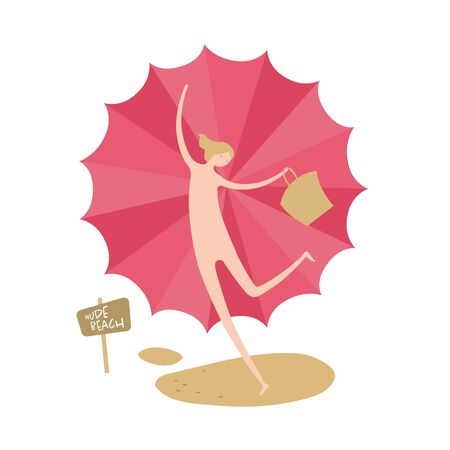 Vector woman person nudist banner element. Beach theme. Modern style flat joy female holding bag and umbrella isolated on white. Design for summer holiday, vacation, trip Çizim