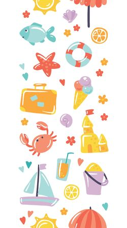 Summer holiday vector icons in seamless horizontal pattern. Design for events and sea trips. Sun, umbrella, sand castle, starfish, fish, lifebuoy, lemon, crab, travel case, icecream, cocktail, boat.