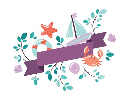 Vector flat poster with ribbon. Sea vacation banner with flat icons. Doodle illustration for sea summer trips advertising. Yacht, crab, starfish, lifebuoy, leafs on branch