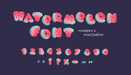 Vector cartoon summer fruit font. Number and punctuation for watermelon alphabet carved from slices of watermelon with seeds and small highlights isolated on black.