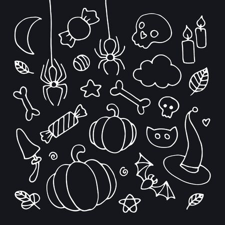 Vector hand drawn cartoon halloween element set. Collection of white outline holiday magic and animal symbols isolated on black background. Design for poster, party, invitation card, sale. Illustration