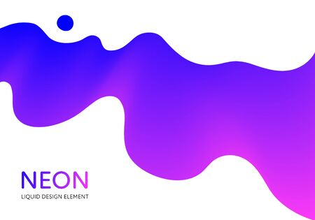 Abstract vector fluid modern minimal background. Dynamic flowing shape. Blue and pink gradient color in horizontal composition. Design element for poster, banner, presentation, cover, flyer, card. Ilustração