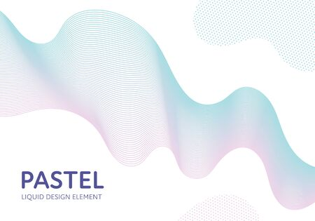 Abstract vector fluid modern minimal background. Dynamic flowing wavy shape on white. Blue to pink pastel gradient color. Design element for horizontal poster, banner, presentation, cover, flyer, card