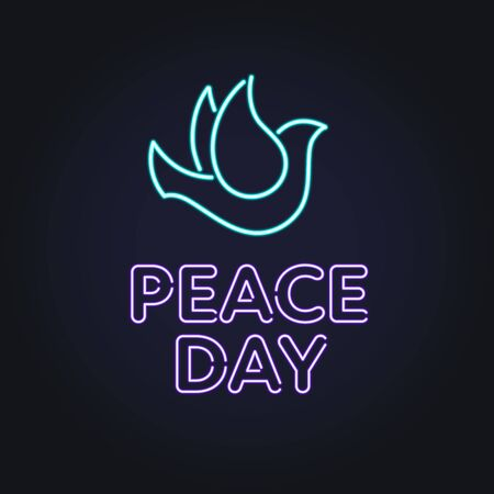 Vector neon international peace day banner template. Light bulb text with pigeon sign on black background. Design element for holiday greeting card, poster, website, advertisement, web, flyer. Stock fotó - 133562674