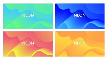 Set of abstract vector fluid modern minimal horizontal background. Blend flowing shape. Different color gradient collection. design for backdrop, annual report, magazine, presentation, flyer, card