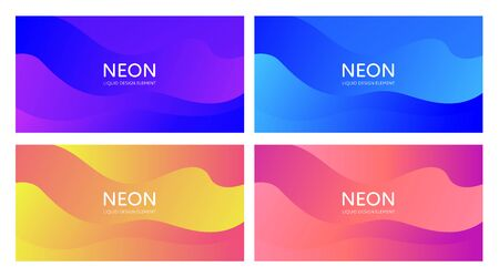 Set of abstract vector fluid modern minimal horizontal background. Blend light shape. Neon color gradient collection. design for backdrop, annual report, magazine, presentation, flyer, card