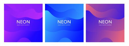 Set of abstract vector fluid modern minimal background. Dynamic flowing wavy shape. Different color gradient collection. design element for backdrop, annual report, magazine, presentation, flyer, card