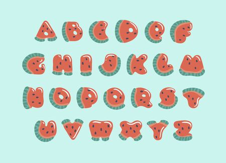ABC with cute watermelon letters. Cartoon alphabet carved from slices of watermelon with seeds and small highlights isolated on blue background. Fruit summer font for children. Illustration