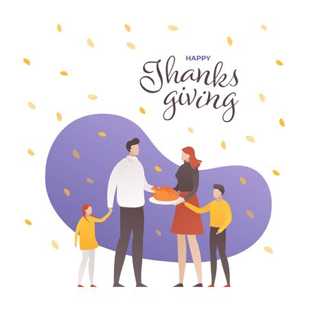 Vector flat thanksgiving day square people illustration banner. Text with family person and turkey on leaves falling background. Design for colorful season holiday poster, greeting card, shirt print.