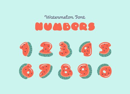 Numbers for vector watermelon font. Cartoon exotic watermelon numbers. Numbers carved from slices of watermelon with seeds and small highlights isolated on background. Fruit summer font for children.