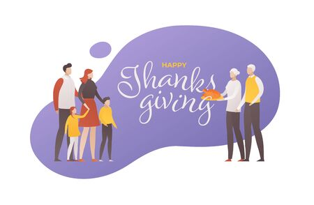Vector flat thanksgiving day square people illustration banner. Text with big family person with grandparents and turkey. Design for colorful season holiday poster, greeting card, shirt print.