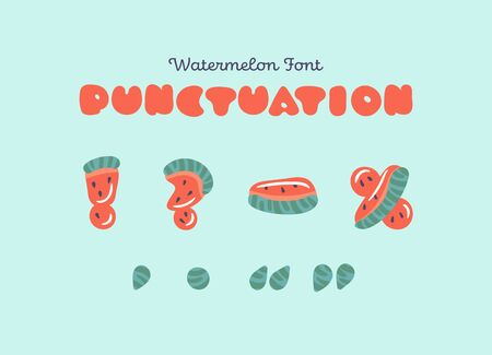 Punctuation symbols for vector watermelon font. Cute watermelon symbols carved from slices of watermelon with seeds and small highlights isolated on background. Fruit summer font for children goods.