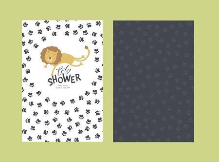 Plantilla de tarjeta de invitación de ducha de bebé de vector. Diseño escandinavo. Salto de león de color divertido aislado en blanco con fondo negro de texto y pata de gato. Concepto de ilustración de estilo infantil para imprimir.
