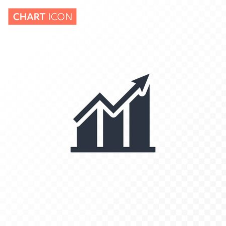 Vector flat bar with arrow chart diagram icon illustration. Simple black color icon isolated on white to transparent background. Concept of finance statistics, analitics. Design for ui, report, web.