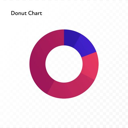 Vector color flat chart diagram icon illustration. Red and blue gradient donut chart. Round isolated on transparent background. Design element for finance, statistics, analitics,ui, report, web.