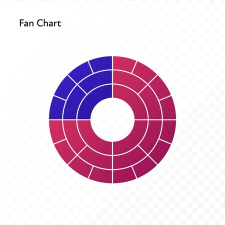 Vector color flat chart diagram icon illustration. Red and blue gradient fan chart. Circle isolated on transparent background. Design element for ancestor, statistics, analitics,ui, report, web 向量圖像