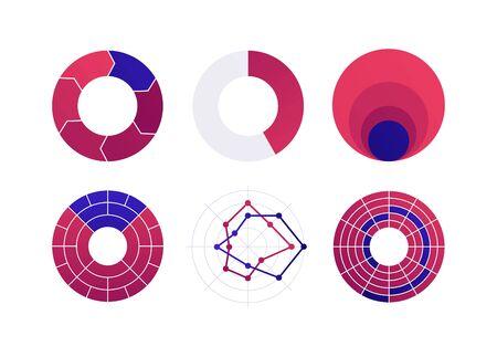 Conjunto de ilustración de icono de diagrama de gráfico plano de color vectorial. Colección de diagrama rojo y azul de ciclo, área anidada, radar y elemento infográfico de mapa de calor. Diseño para finanzas, estadística, analítica, ciencia
