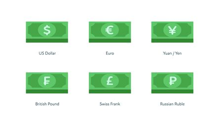 Vector banknote money flat icon illustration. Set stack of world currency as dollar, euro, pound, frank, yuan and yen isolated on white. Design element for banner, poster, banking, payment, website.