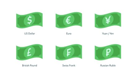 Vector banknote money flat icon illustration. Set of flying world currency as dollar, euro, pound, frank, yuan and yen isolated on white. Design element for banner, poster, banking, payment, website.