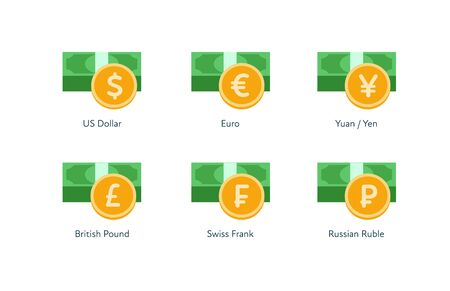 Vector money flat icon illustration. Set of world currency as dollar, euro, pound, frank, yuan and yen isolated on white background. Design element for banner, poster, banking, payment, website, web.