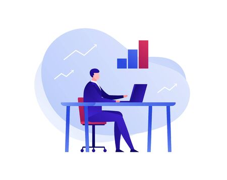 Vector flat business analytics person illustration. Businessman male sitting with laptop and financial icon. Concept of stock analitics, consulting. Design element for banner, poster, card, flyer, web
