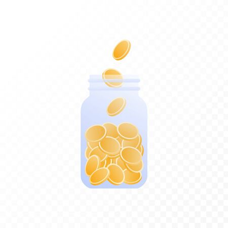 Vector coin money in jar flat illustration. Bottle full of coin isolated on white to transparent background. Design element for banner, poster, website, bank, game. Concept of save money.