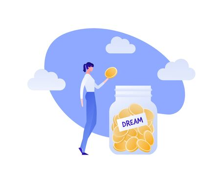 Vector coin money in jar flat person illustration. Woman drop coin to bottle isolated on white background. Design element for banner, poster, website, bank, game. Concept of save money for dream. Çizim