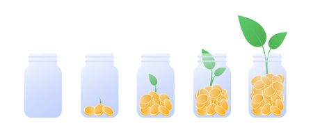 Vector coin money in jar flat illustration. Set of glass full of coin isolated on white background. Design element for banner, poster, website, bank, game. Concept of financial investment, pension.