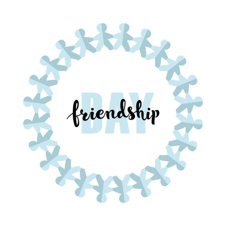Vector happy friendship day banner. Blue and black text on white background with gradien blue color paper people circle frame. Holiday design for web, poster, invitation card, party, school event. Ilustrace