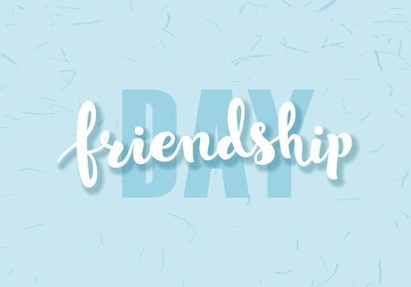Vector happy friendship day banner. Blue and white text on grunge blue background. Holiday design for web, poster, invitation card, party, school event.