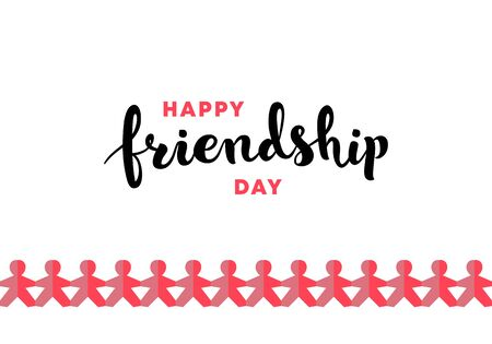 Vector happy friendship day banner. Red and black text on white background with horizontal red gradient color paper people. Holiday design for web, poster, invitation card, party, school event, print. Ilustrace