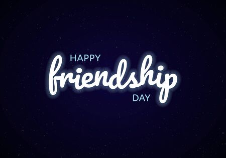 Vector happy friendship day banner. Glowing white text on black background. Holiday design for web, poster, invitation card, party, school event, print.