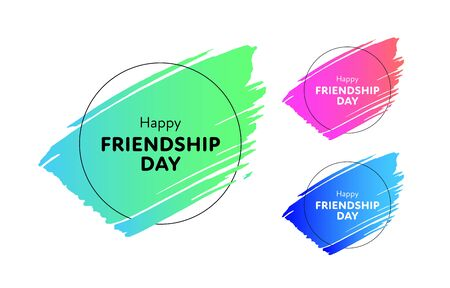 Set of modern vector happy friendship day banner. Acid green, pink, blue gradient trendy grunge brush shape with circle frame. Holiday design for web, poster, card, party, school event, print Reklamní fotografie - 133562625